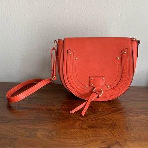 Orange crossbody faux leather purse